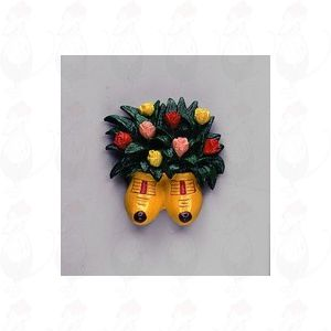 Magneet bos tulpen in gele klompen